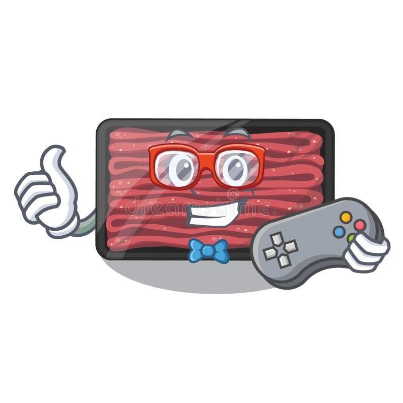 Carne triturada Gamer no refrigerador dos desenhos animados ilustração royalty free
