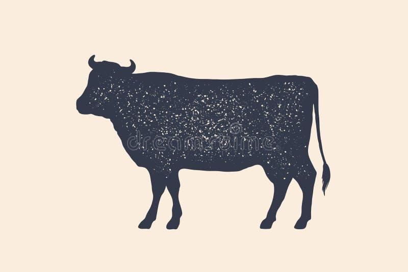Carne, vaca Cartaz para a loja de carne do açougue ilustração do vetor