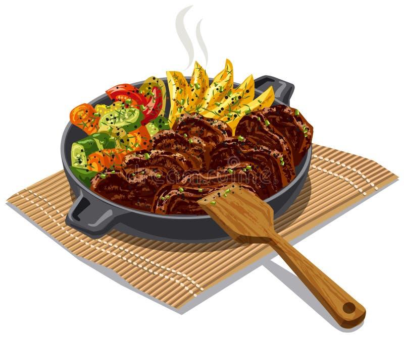 Carne y verduras asadas stock de ilustración
