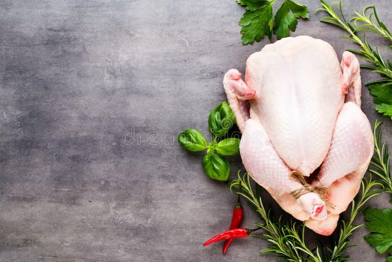 Carne y verduras frescas del pollo Endecha plana imágenes de archivo libres de regalías