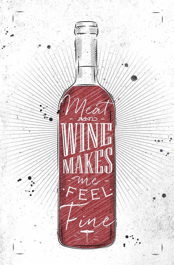 Carne y vino del cartel ilustración del vector