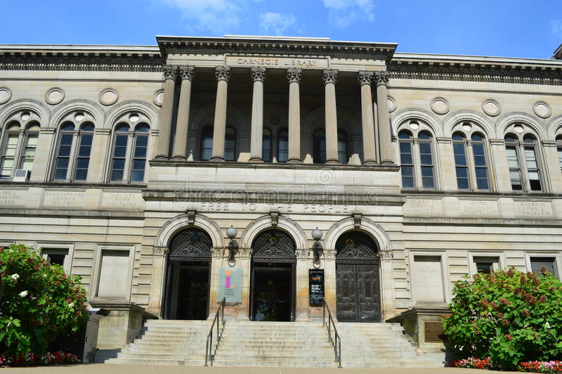 Carnegie Library of Pittsburgh. This photo was taken in Pittsburgh. Carnegie Library of Pittsburgh (CLP) supports educational attainment, economic development stock photos