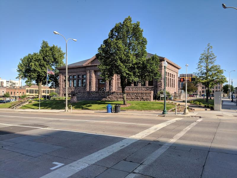 Carnegie Town Hall, Sioux Falls, SD. The historic old Carnegie Library building houses the Council Chambers and the City Clerk& x27;s Office in downtown Sioux stock photography
