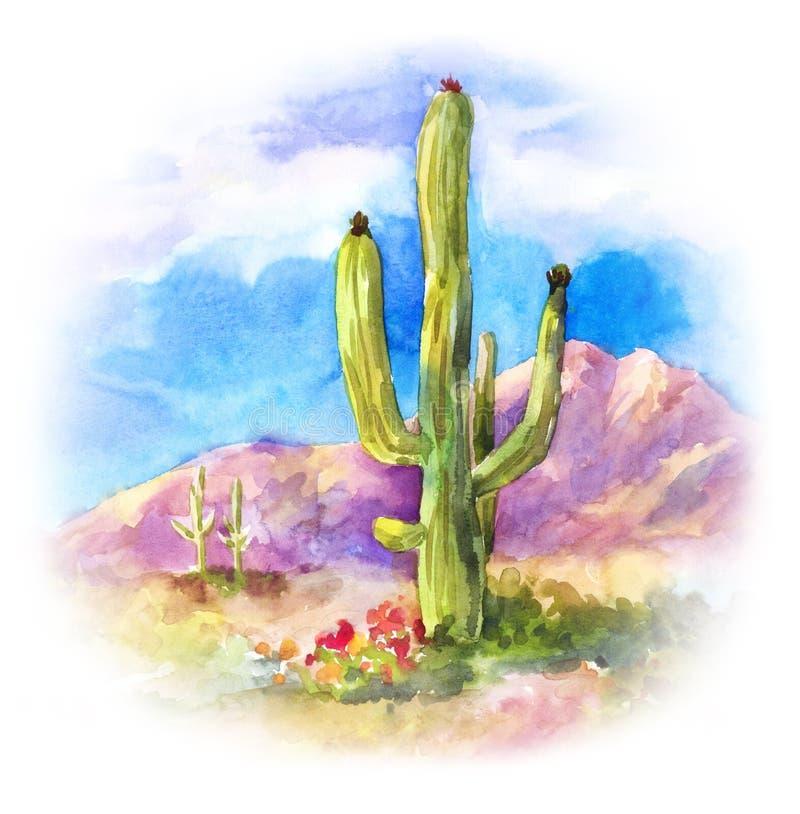 Carnegiea suculento gigante na paisagem do deserto ilustração stock