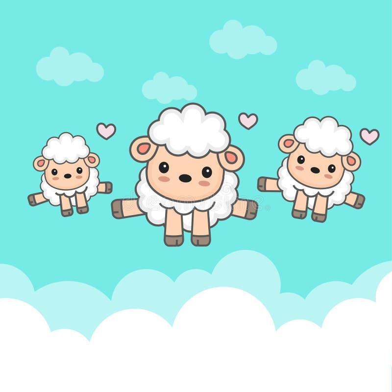 Carneiros contrários e bebê que saltam no céu ilustração stock