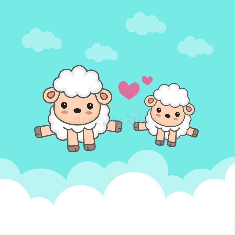 Carneiros contrários e bebê que saltam no céu ilustração do vetor