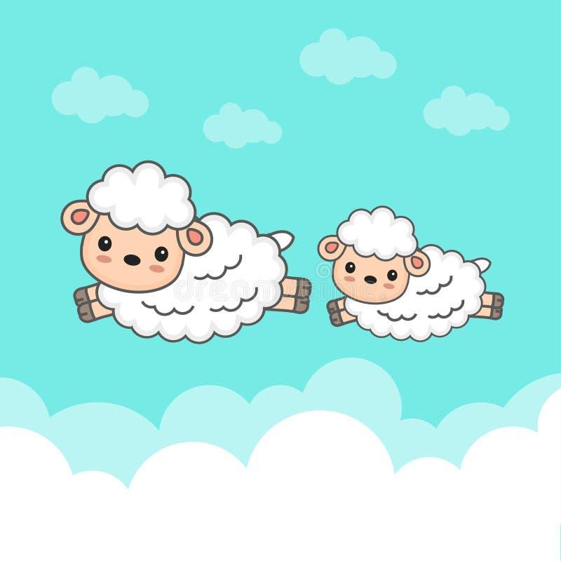 Carneiros contrários e bebê que saltam no céu ilustração royalty free