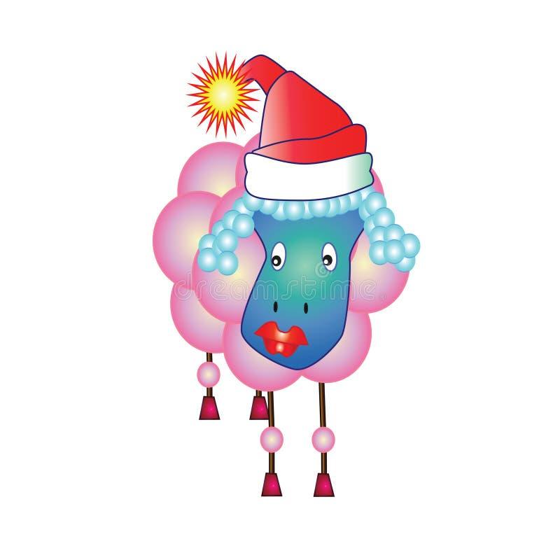 Carneiros cor-de-rosa para felicitações do Natal ilustração stock