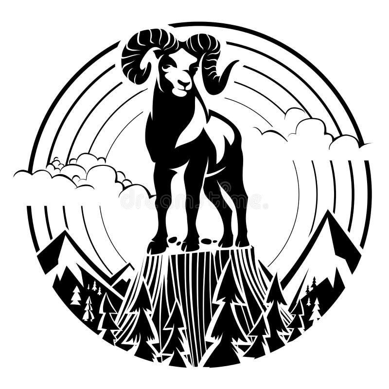 Carneiros de Bighorn da montanha ilustração stock