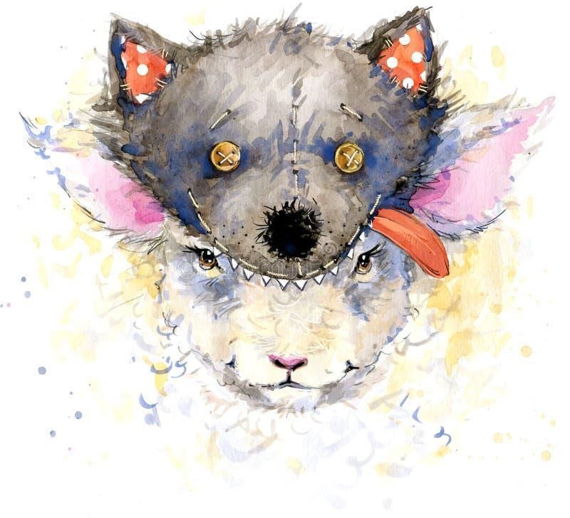 carneiros do bebê para gráficos do t-shirt ilustração dos carneiros do bebê ilustração royalty free