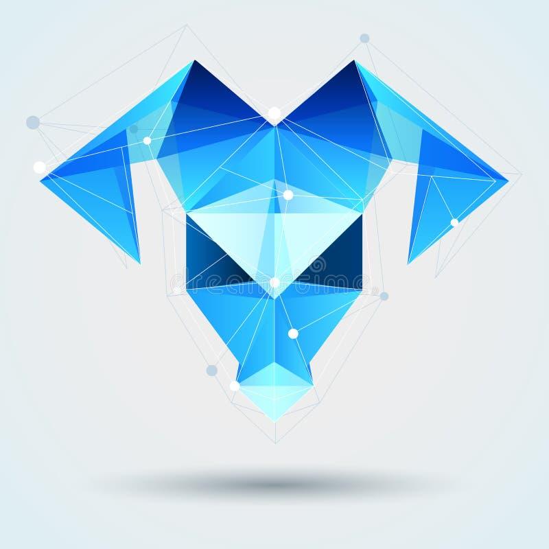 Carneiros do mosaico do gelo Cabra poligonal azul Símbolo do ano novo 20 ilustração do vetor