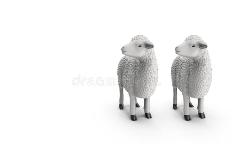 Carneiros isolados na ilustração branca do fundo 3D ilustração do vetor
