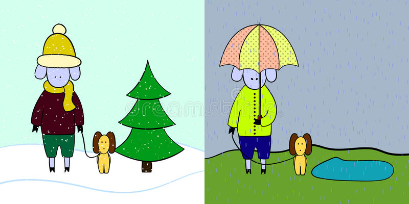 Carneiros no inverno e no outono ilustração royalty free