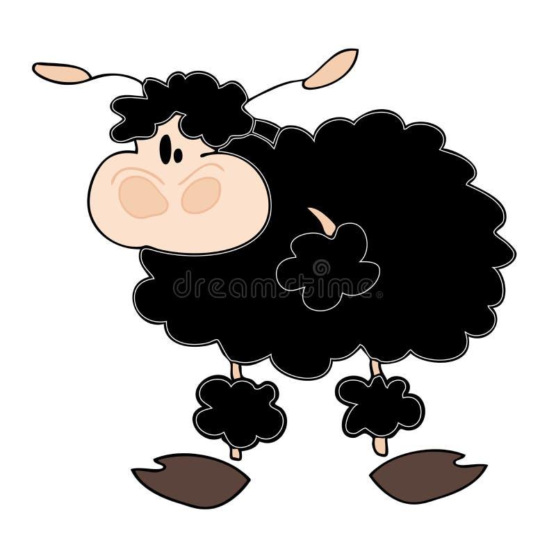 Carneiros pretos engraçados. ilustração do vetor