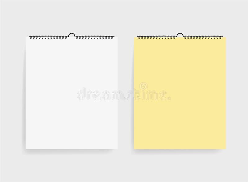 Carnet à dessins deux réaliste dans le style de maquette Blocs-notes vides avec la spirale Calibre des blocs-notes vides sur le f illustration libre de droits