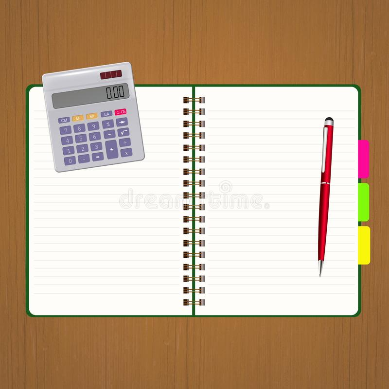 Carnet avec la calculatrice illustration libre de droits