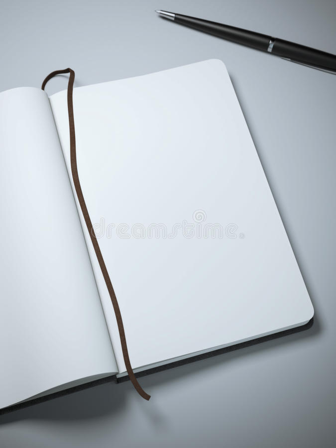 Carnet avec les pages et le stylo clairs illustration de vecteur