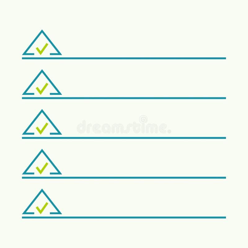 Carnet avec pour faire la liste illustration de vecteur