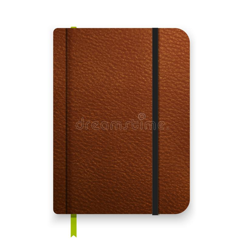 Carnet brun en cuir réaliste avec la bande élastique noire Calibre de journal intime de vue supérieure Maquette de bloc-notes de  illustration stock