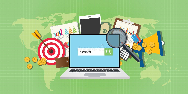 Carnet d'analyse de la publicité de seo de vente de moteur de recherche des PSEM illustration stock