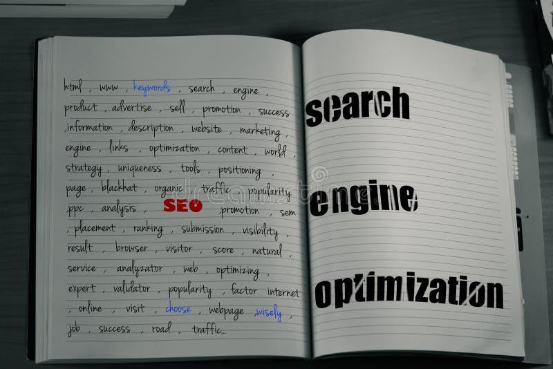 carnet de mots-clés de seo photographie stock libre de droits
