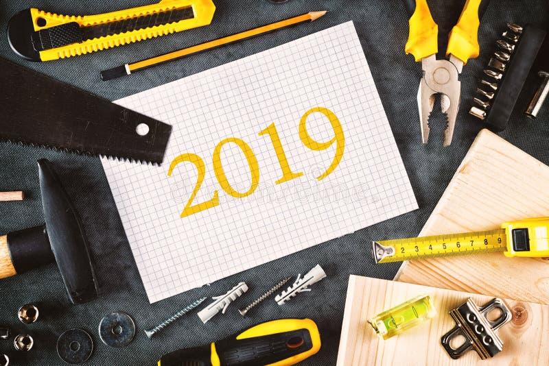 Carnet de 2019 résolutions de nouvelle année image stock