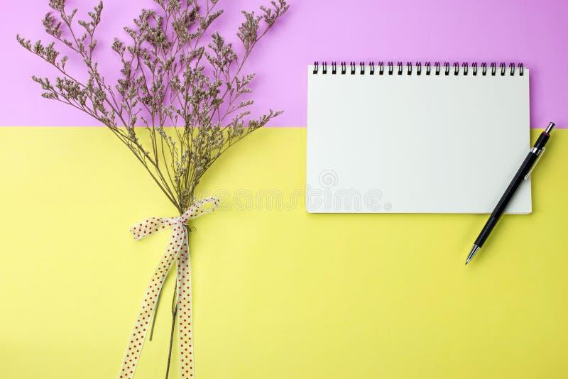 Carnet et crayon vides sur le fond rose et jaune photos libres de droits