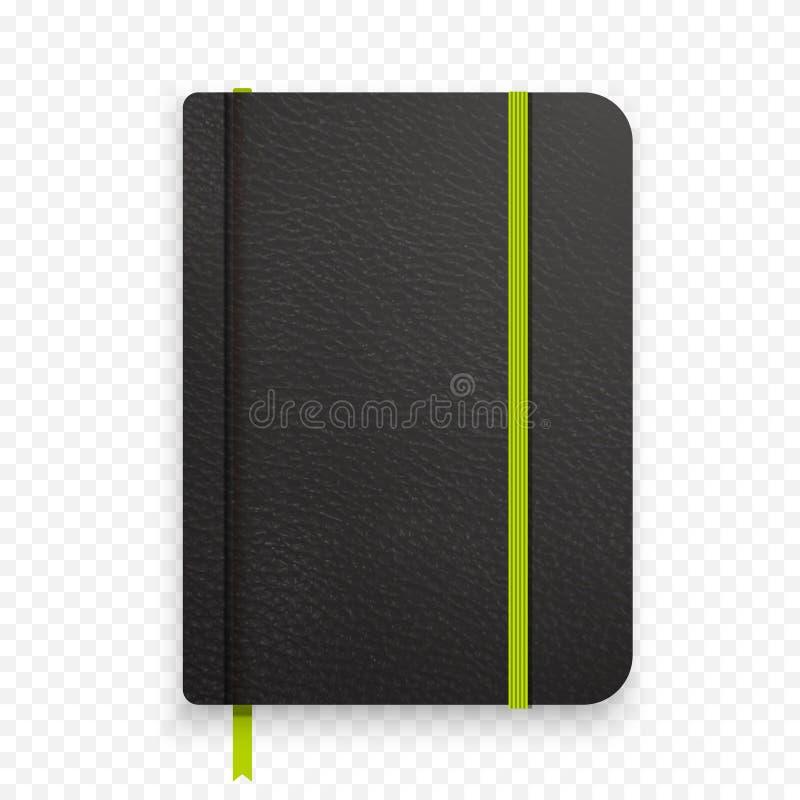 Carnet noir réaliste avec la bande élastique verte Calibre de journal intime de vue supérieure Agenda fermé maquette de bloc-note illustration de vecteur