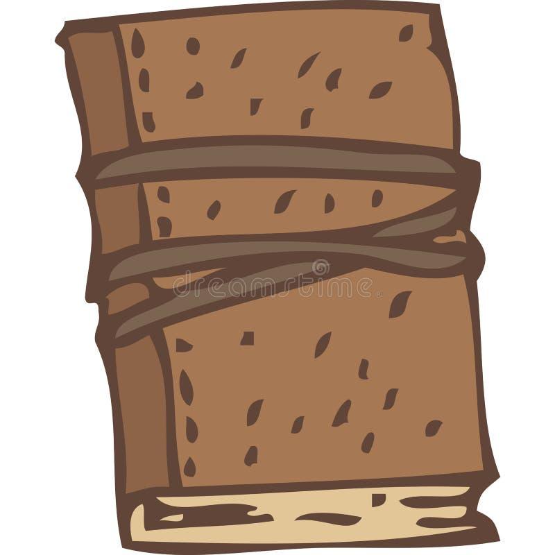 Carnet ou livre fermé avec une bande élastique de couverture de cuir de Brown et illustration de vecteur