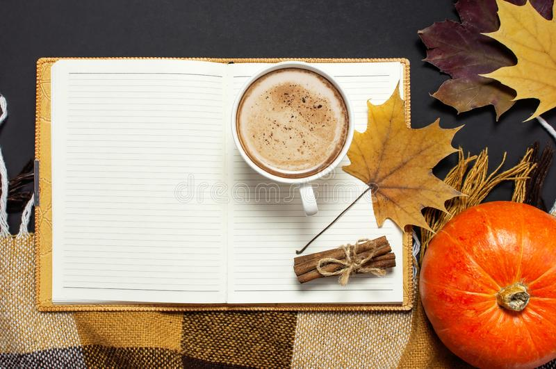 Carnet ouvert, potiron, tasse de cacao de potiron ou café, cannelle, feuille d'érable jaune d'automne, plaid à carreaux sur le fo photos libres de droits