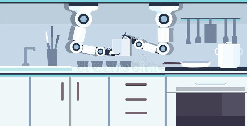 Carnet pratique intelligent de participation de robot de chef écrivant à recette la technologie auxiliaire robotique d'innovation illustration de vecteur