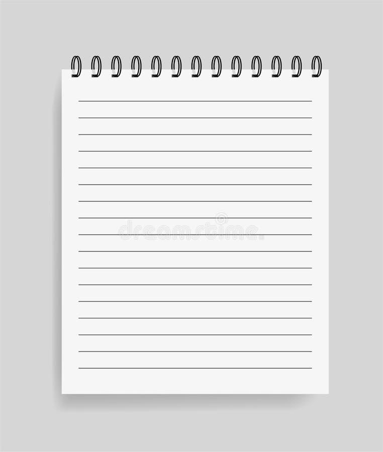 Carnet réaliste dans le style de maquette Bloc-notes vide avec la spirale Calibre de bloc-notes vide avec des lignes Vecteur eps1 illustration libre de droits