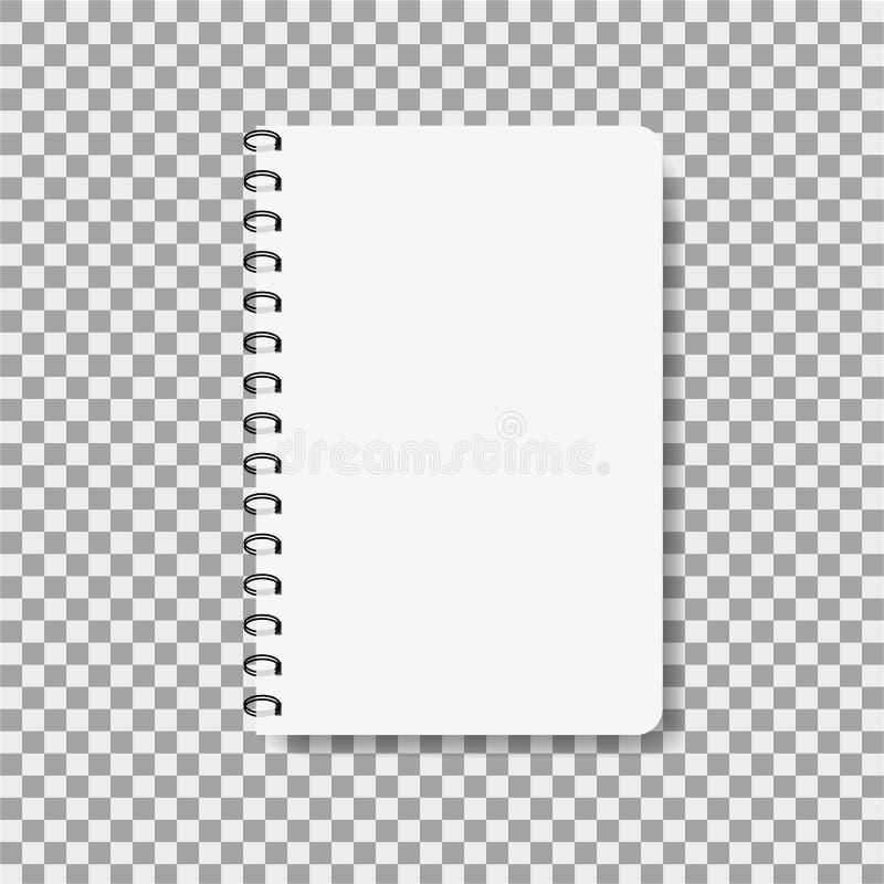 Carnet réaliste dans le style de maquette Bloc-notes vide avec la spirale Calibre de bloc-notes vide sur le fond d'isolement Note illustration de vecteur