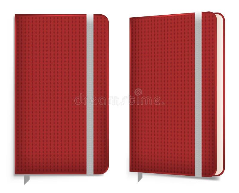 Carnet réaliste de velours de coton avec la bande élastique cahier, illustration de vecteur illustration stock