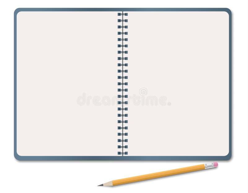 Carnet réaliste, feuille vide de livre blanc avec le crayon d'isolement sur le fond blanc Illustration de vecteur illustration stock