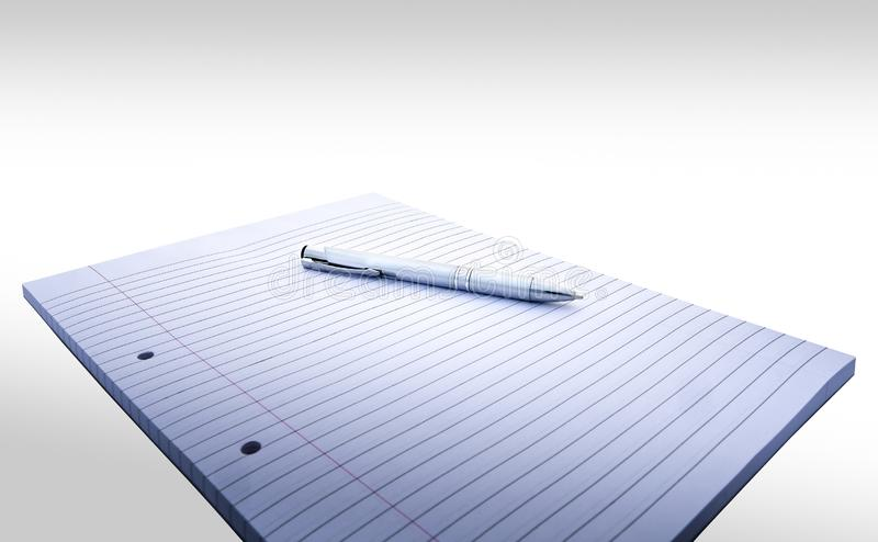 Carnet rayé et perforé avec la marge et stylo sur le fond blanc photo libre de droits