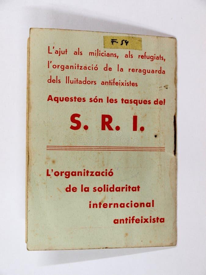 Carnet solidarność międzynarodowy antyfaszystowski Catalonia spanish cywilna wojna zdjęcie stock