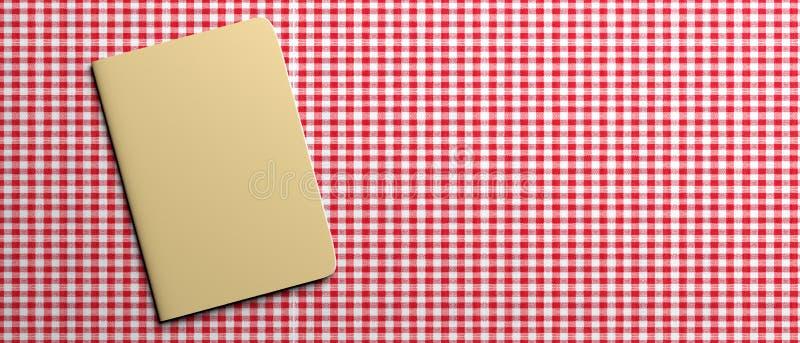 Carnet vide de recette sur la nappe à carreaux rouge, bannière, l'espace de copie illustration 3D illustration stock