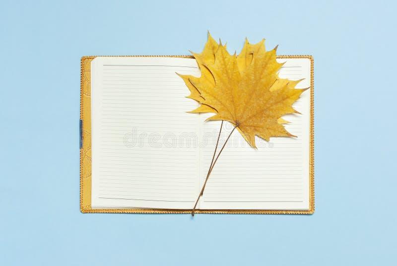 Carnet vide ouvert avec une feuille d'érable jaune d'automne sur la configuration plate bleue de vue supérieure de fond Concept d photographie stock
