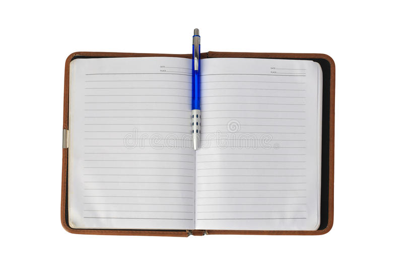 Carnet vide utilisé d'organisateur avec le stylo d'isolement sur le blanc images libres de droits