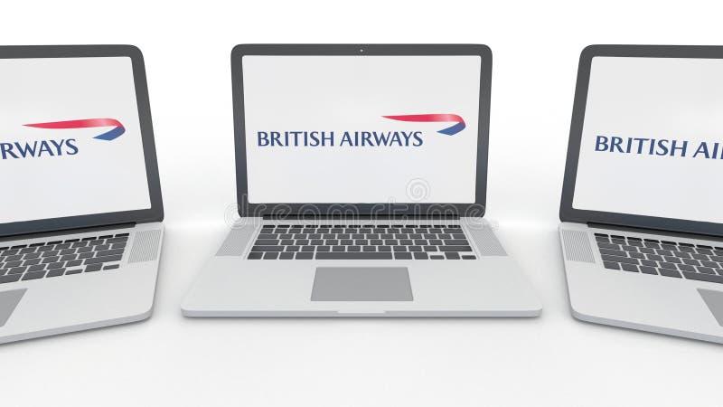Carnets avec le logo de British Airways sur l'écran Rendu conceptuel de l'éditorial 3D d'informatique illustration stock