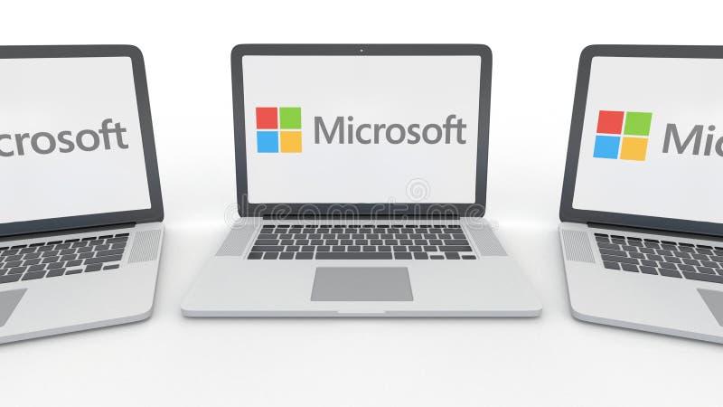 Carnets avec le logo de Microsoft sur l'écran Rendu conceptuel de l'éditorial 3D d'informatique illustration libre de droits