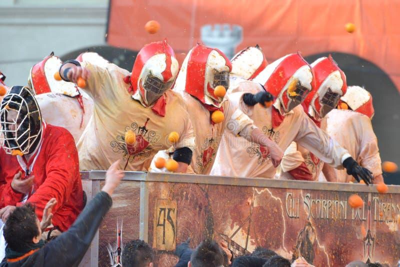 Carnevale d ivrea 免版税库存照片