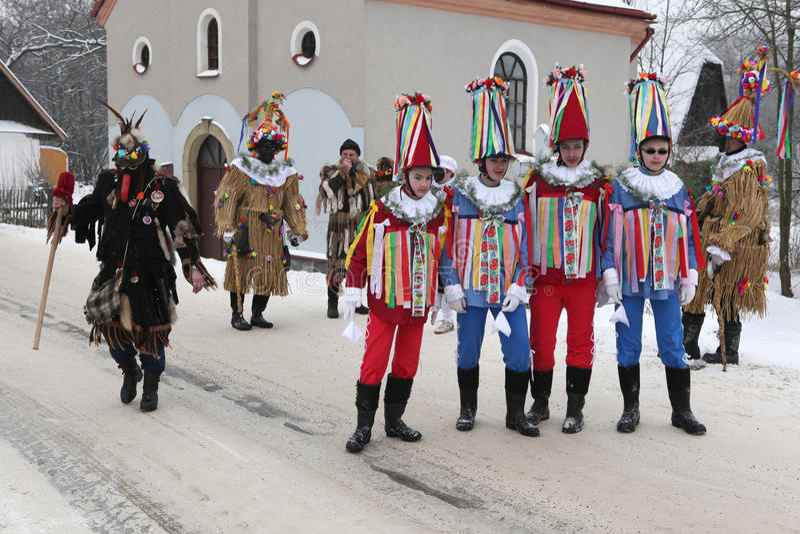 Carnevale di Masopust Processione cerimoniale ceca di Shrovetide fotografia stock
