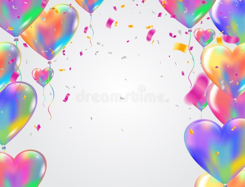 Carnevale variopinto b festiva dei palloni e dei coriandoli dei palloni del cuore illustrazione di stock