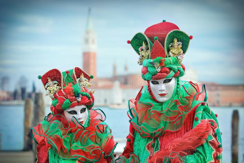 Carnevalmasker in Venetië - Venetiaans Kostuum royalty-vrije stock foto