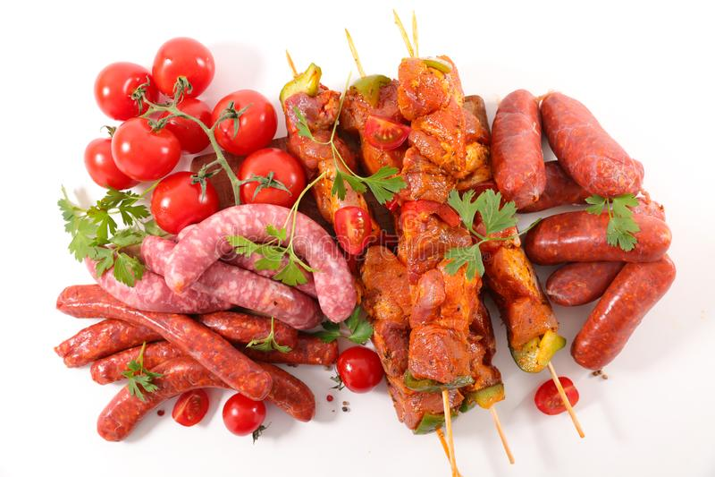 Carni crude assortite per il barbecue fotografie stock libere da diritti