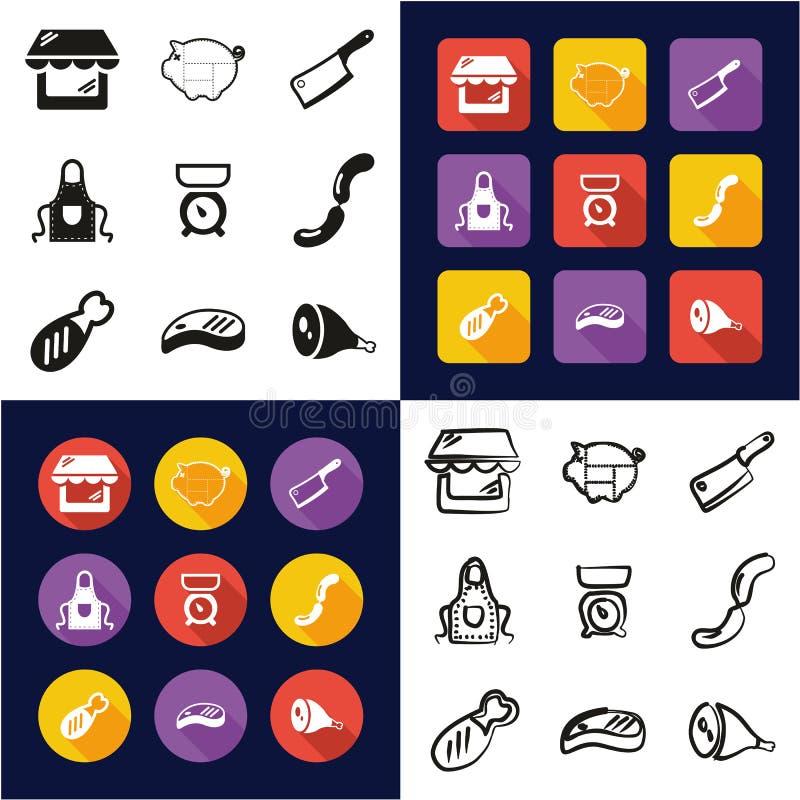 Carniceiro Shop All em um preto dos ícones ilustração do vetor