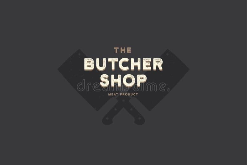 Carnicería del logotipo con la imagen del destral de la cocina de las siluetas dos stock de ilustración