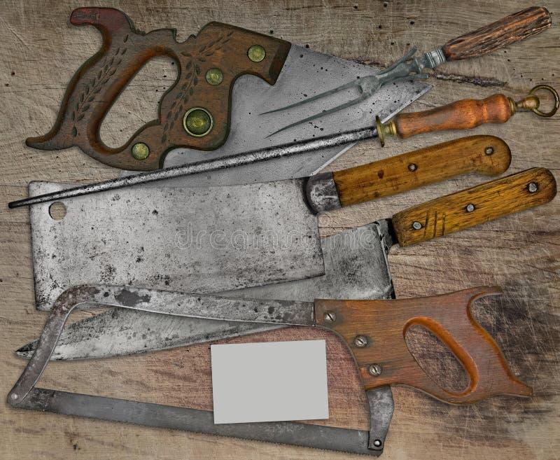 Carnicería del vintage fijada sobre la tabla de madera imágenes de archivo libres de regalías